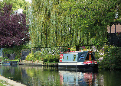 Greeting Card Canal boat river boating notelet get well soon notelet best wishes