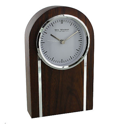 Solid Wood & Chrome Arched Top Mantel Clock With Natural Mat Finish.new & Boxed.