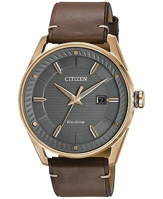*BRAND NEW* Citizen Men's Eco-Drive Brown Leather Steel Watch BM6983-00H