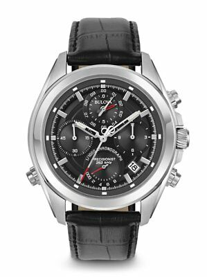 *BRAND NEW* Bulova Men's Black Leather Strap Stainless Steel Case Watch 96B259