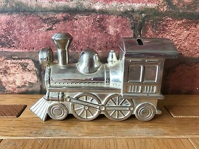 Superb Art Deco Silver Metal Plated Vintage Train Money Box
