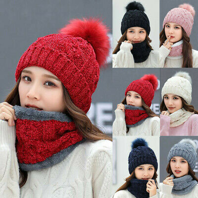 2Pcs Women Autumn Winter Warm Knitted Venonat Beanie Hat+Scarf Keep Warm Set
