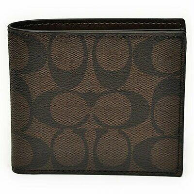 COACH Double Billfold In Signature C Coated Canvas /& Leather Wallet F75083 $150