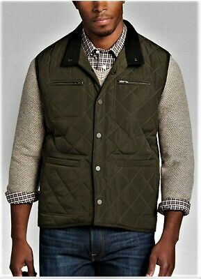 Pronto Uomo Quilted Vest / Size S / Olive / New w/Tags ((Men's Wearhouse = $99))