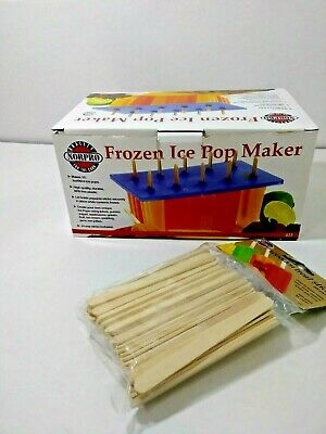 Norpro Frozen Ice Pop Maker With Wooden Sticks Makes 10 Popsicles
