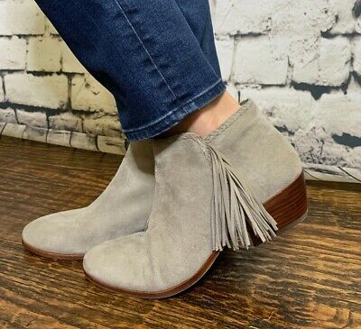 2f059ad09bde SAM EDELMAN WOMENS  Paige  Taupe Suede Fringes Ankle Boots Sz 9 in ...