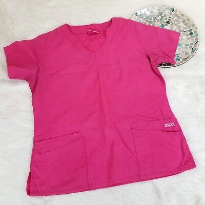 ad398d42cd5 Butter Soft Scrubs by UA Womens Scrub Top Large Pink V-Neck Front Pockets  o1386