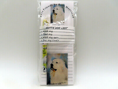 New Great Pyrenees Gift Set Magnetic List Pad, Magnet & Pen Spaniels By Ruth