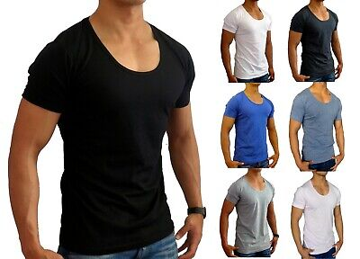 New Mens Plain Deep Scoop T Shirt Slim Fit S - Xxl Euro Casual Muscle Fashion