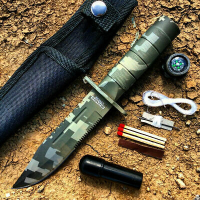 "8.5"" Military Camo Tactical Fishing Hunting Knife Survival Kit Blade w/ Sheath"