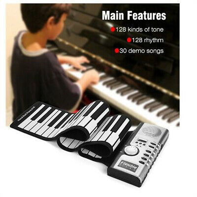 Flexible Roll Up Electronic Soft Keyboard Piano Portable 61-Keys Gifts For Kids