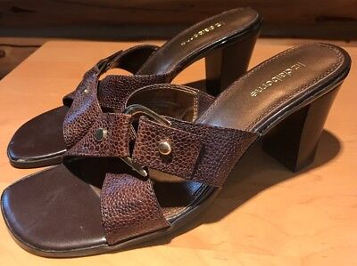 ce43129d861 Liz Claiborne Women s Lucy Brown Leather Slip On Sandal Heels Size ...