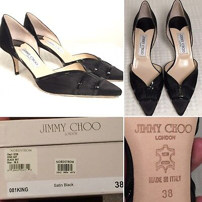 f7ea6c71fd4 JIMMY CHOO DUCHESS Black Lace with Suede Heels Pumps Pointed Toe ...