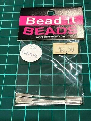 # Nip Sterling Silver Pack 10X50Mm Paddle Flat End Pins Jewellery Findings $8.50
