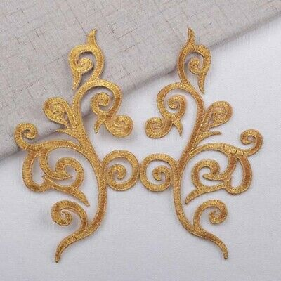 1 Pair Embroidery Iron On Patch Lace Applique DIY Dress Costume 17x8.5cm