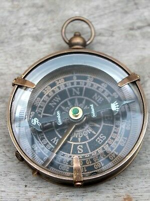 Antique Vintage Brass Nautical Flat Compass~ Directional ( Dollond London )Gift.