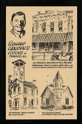 Political President postcard Ronald Reagan home comic style Tampico, Illinois IL