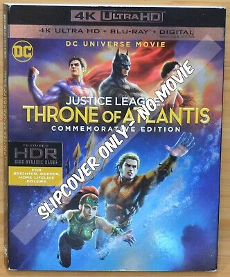 JUSTICE LEAGUE THRONE OF ATLANTIS 4K Bluray Slipcover (COVER ONLY-NO MOVIE DISC)