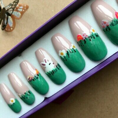 Hand Painted False Nails XL COFFIN - Easter Rabbit Eggs scene - ONLY ONE SET