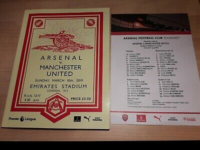 Arsenal vs Manchester United 10/03/2019 PROGRAMME WITH TEAMSHEET FREE POSTAGE