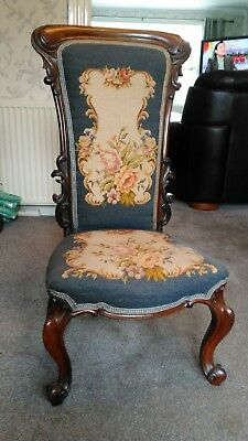 Antique Victorian Rosewood Tapestry Chair