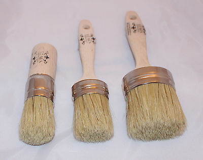 Oval Chalky Paint & Wax Brush Starter Gift Pack Kit Pure Bristle Quality British