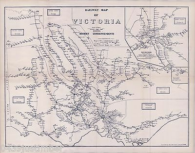 Victorian Railway Map..Showing District Superintendants in 1963 new A3 size copy