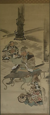 Large Antique Chinese/Japanese Signed Stamped Warrior Scroll Painting