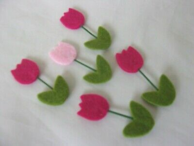 Pink Die Cut Felt Tulip Flowers Stick On Embellishments Cards Crafts Scrapbook