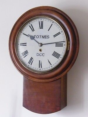 "A ANTIQUE DROP DIAL "" TOTNES D.C.C. "" FUSEE WALL CLOCK STATION SCHOOL 16.75"" dia"