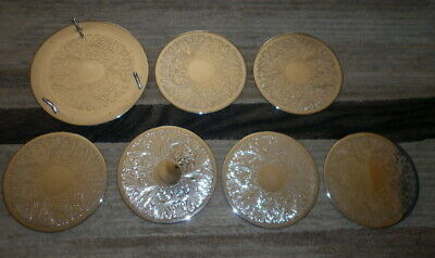 Set X 6 Vintage Retro  Silver Plate Placemats With Stand /  Holder- 19.5Cm