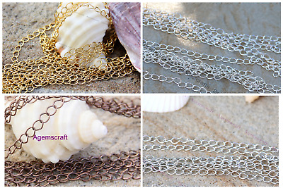 2 meters beading unfinished chain 5mmx3-3.5mm soldered links Copper Silver Gold