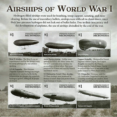 Micronesia Aviation Stamps 2015 MNH WWI WW1 Airships of First World War I 6v M/S