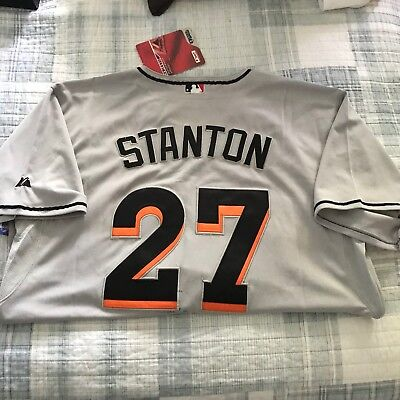 407a1839bfa GIANCARLO STANTON MIAMI Marlins Jersey Brand New Grey Size 48 ...