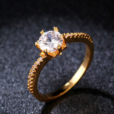 6mm Round Cut Cubic Zirconia Band Women's 18K Yellow Gold Filled Ring Sz 6 7 8 9