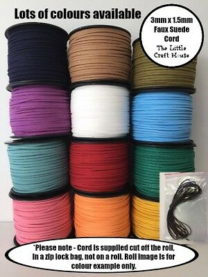 30 Colours Faux Suede Cord Flat 3mm x 1.5mm 5 or 10 Metres Black Beige Necklace