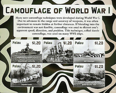 Palau 2015 MNH Camouflage First World War WWI Sopwith 5v M/S Tanks Ships Stamps