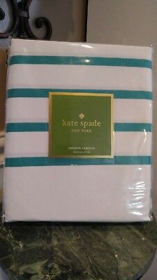Kate Spade Nwt Striped Teal White Striped Shower Curtain Harbour
