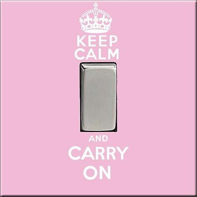 KEEP CALM & CARRY ON Acrylic light Switch Cover plate office study work teen