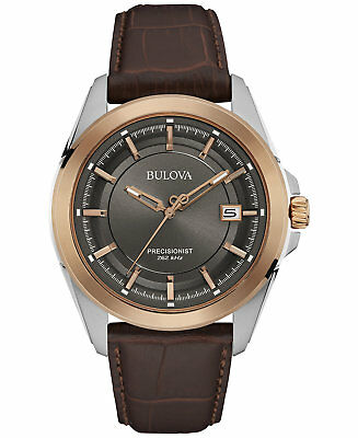 *BRAND NEW* Bulova Men's Brown Leather Strap Steel Case Rose Gold Watch 98B267
