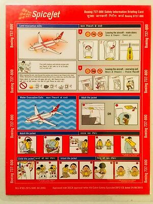 SPICEJET BOEING 737-800 SAFETY CARD - Indian Airline Instructions, Laminated