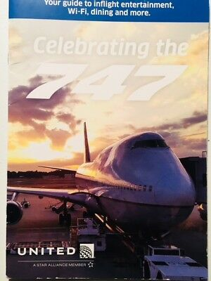 United Airlines Inflight Menu Photo Brochure Celebrating The Retired Boeing 747