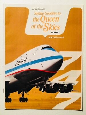 United Airlines Queen Of The Skies Farewell 747 Collector's Booklet Magazine