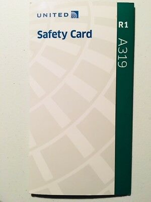United Airlines A319 Safety Card UALSCA319-C R1 - Out-Of-Print - NEW Condition