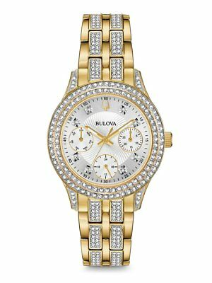 *BRAND NEW* Bulova Women's Crystal Gold Stainless Steel Silver Dial Watch 98N112