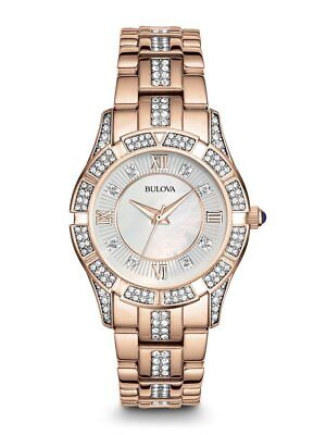 *BRAND NEW* Bulova Women's Crystal Rose Gold Tone Stainless Steel Watch 98L197