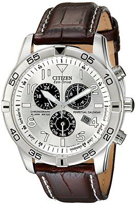 *BRAND NEW* Citizen Men's Eco-Drive Silver Steel Brown Leather  Watch BL5470-06A