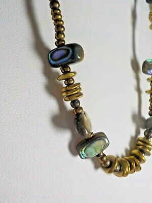 "Silpada Sterling Silver 925 Signed Bead & Abalone Shell Necklace 17"" Long"