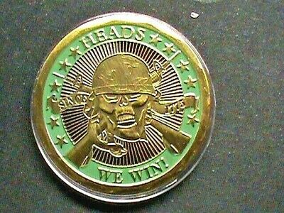 SKULL~Military Challenge Coin~Heads We Win~Tails You Lose~Silver Dollar Size