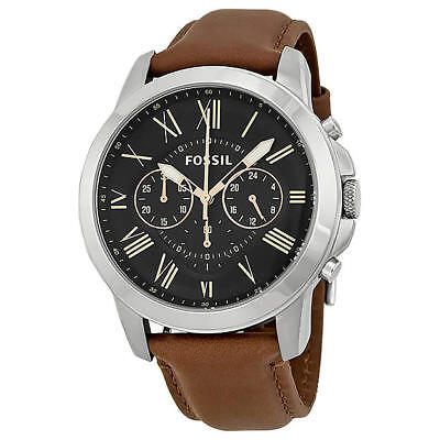*BRAND NEW* Fossil Men's Brown Leather Strap Silver Stainless Steel Watch FS4813